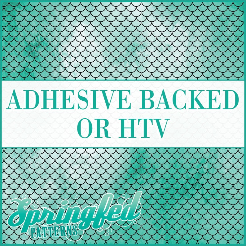 Mermaid Scales Pattern 1 in Turquoise Adhesive or HTV Heat image 0