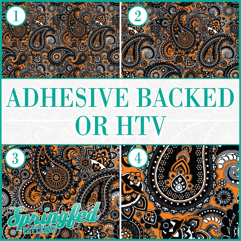 Paisley Pattern 1 in Black & Orange Adhesive Vinyl or HTV image 0