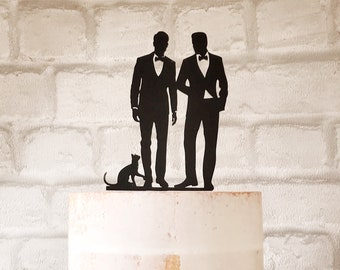 3f1d7407e75 Two Grooms and Cat Silhouette Wedding Cake Topper
