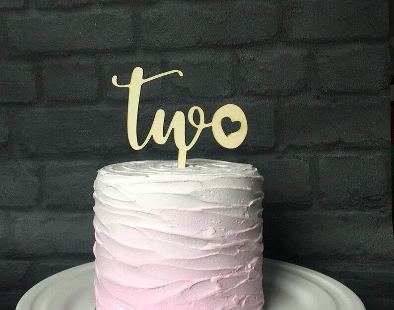 Second Birthday Cake Topper Two Wooden