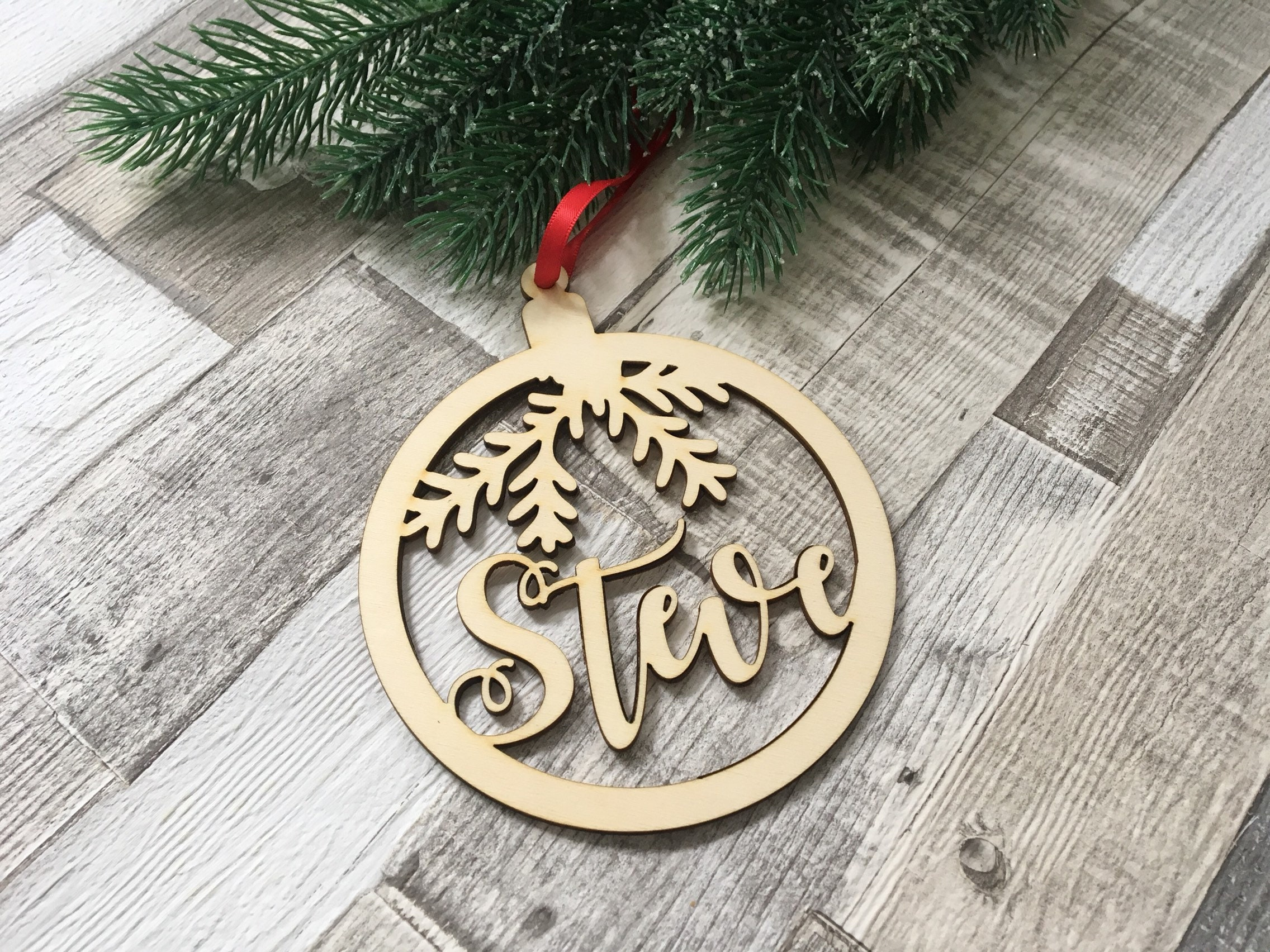 personalised wood ornament Customisable baubles laser cut name decoration