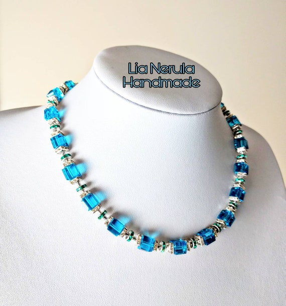 Women's Cyan Green//Blue Chunky Bead Choker Necklace