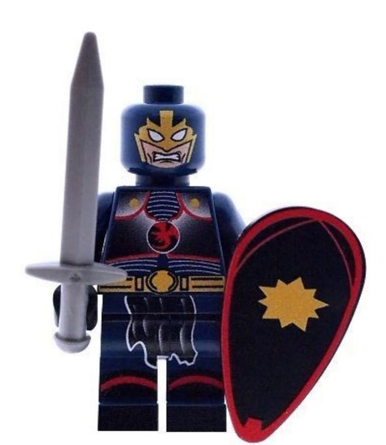 Custom Design Minifigure Black Knight with Sword and Shield Printed On LEGO Parts