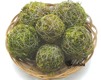 Green Moss Decorative Balls for Bowl, Vase Fillers Orbs, Natural Primitive Spheres, Rustic Farmhouse Table Centerpiece, Woodland Home Decor.
