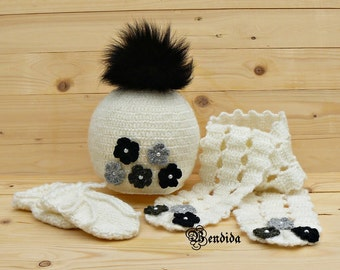 Faux Fur Pom Hat Scarf and Mittens Set, Baby Girl Beanie, White Baby Hat, Crochet Baby Scarf, Baby Girl Gloves, Flower Hat, Winter Outfit.