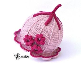 Toddler Girl Beanie, Pink Girl Hat, Kids Winter Hat, Crochet Toddler Hat,  Brim Winter Hat, Top Knot Hat, Toddler Flower Hat, Toddler Outfit