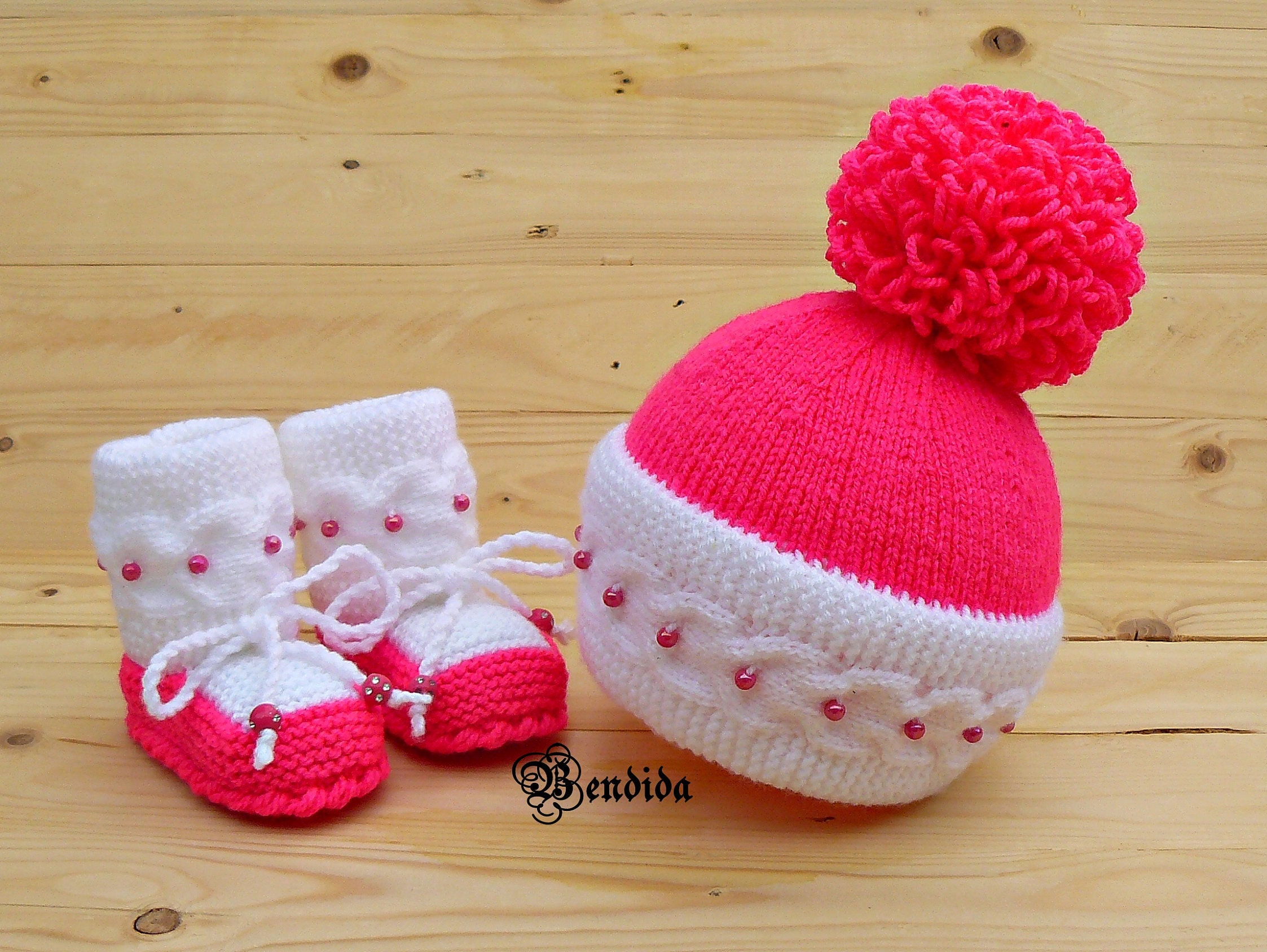 1ee88417daa New Mom Gift Baby Girl Clothes Pink Baby Girl Hat and Booties