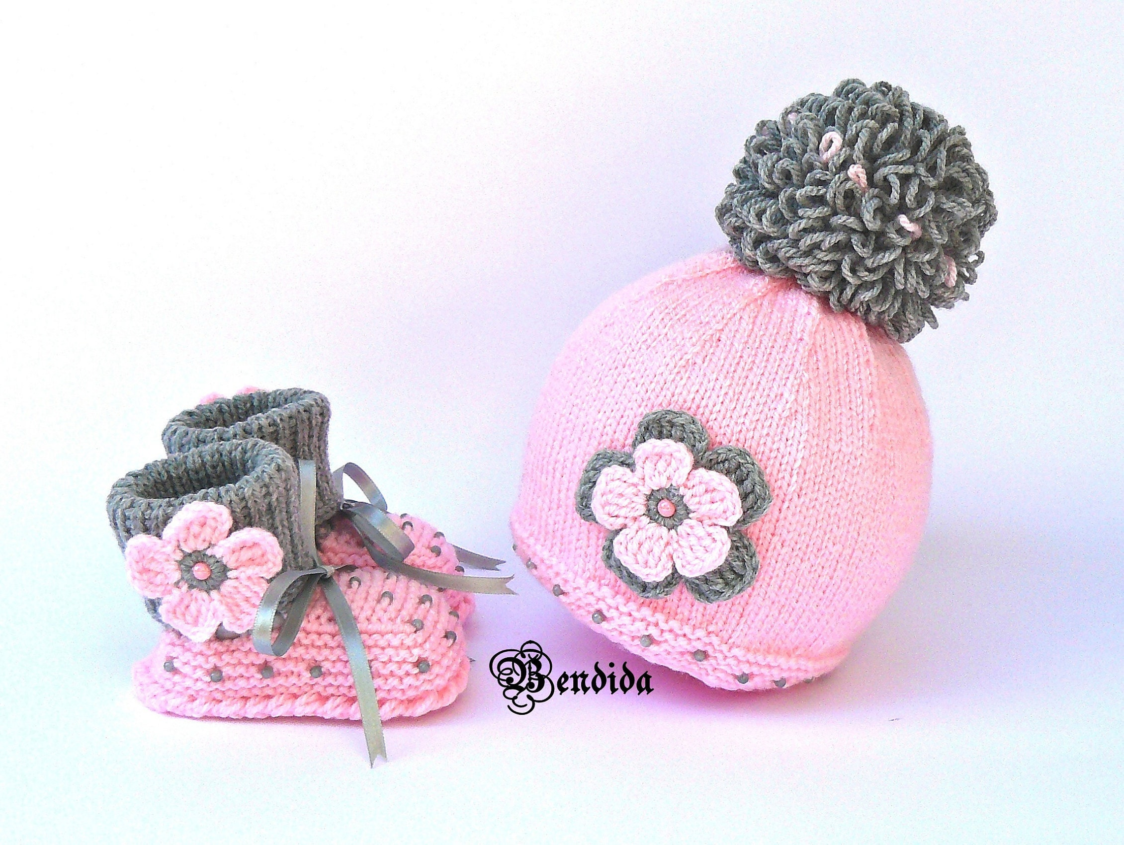 6e750508779 Coming Home Outfit Pink Baby Girl Hat and Booties Set Crochet