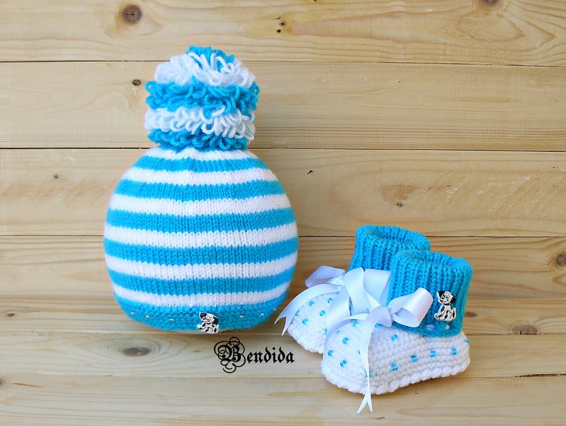 459fa69cab1 Newborn Boy Outfit Baby Boy Clothes Blue Hat and Booties Set