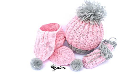 Baby Girl Hat Scarf and Mittens Set Baby Girl Clothes Winter  af3fe4ea806
