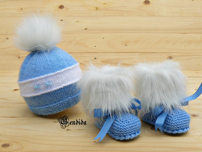 180ce319f48 Baby Boy Clothes Hat and Booties Set Cable Knit Hat Crochet