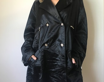 vintage 80s 90s black double breasted trench coat shiny faux satin soft grunge goth hipster outerwear raincoat weather proof 1990s