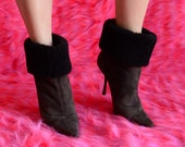 vintage 90 39 s Jimmy Choo furry suede boots fuzzy winter boots Stiletto Boots Designer ankle booties dark gray suede booties ghetto fabulous
