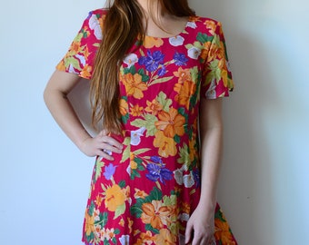 vintage 80's floral Hawaiian print dress with shoulder pads bow in back layered trim festival hipster summer dress size 8