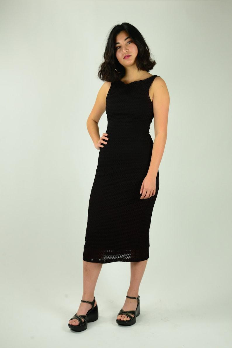 4ba4b0d4be71 Vintage 90's Bebe black midi dress tight fit crochet | Etsy