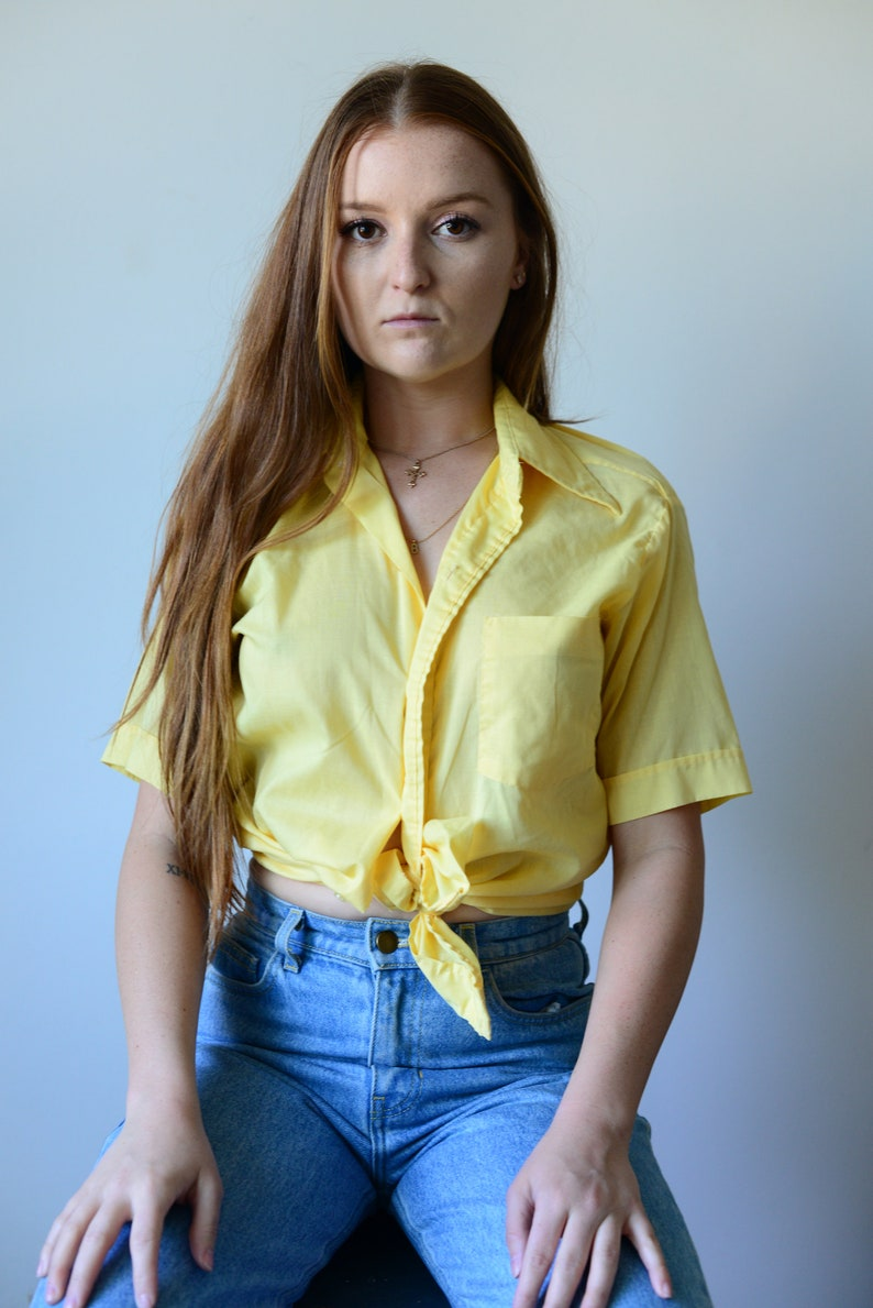 ab762c2f Vintage 80's 90's yellow button down dress shirt   Etsy
