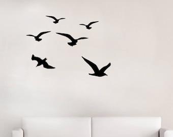 Gull Birds Vinyl Decals // Flock of 8 Bird Wall Stickers // Kids Children's Bedroom // Seaside themed // Seagull Stickers // Pack of 8 Birds
