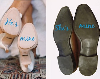 He's mine She's mine Wedding Shoe Stickers // Something Blue For The Bride // Heel Decal Transfers // Couple decals for Photos // Bride Gift