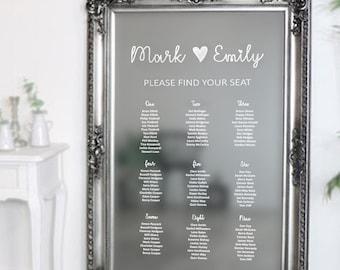 Mirror Wedding Seating Plan. Vinyl lettering Table Chart Sticker. Love Heart Design. DIY Seating Plan Chart. Bespoke Sizing