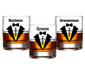 Groom Wedding Party Decals // Bow Tie Groomsman Decals // Beer Whiskey Glass Groom Decal // Bachelor Party Decal // Gift // Decals Only