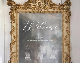 Mirror Wedding Table Plan. Vinyl lettering Seating Plan. DIY Seating Plan Chart. Stylish Calligraphy. Welcome Wedding Sign
