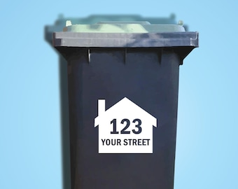 2 House Wheelie Bin Decals. House Number Sticker. Bin Trash Skip Rubbish Home Bin Transfers. Street Name Decals. Peel and Stick