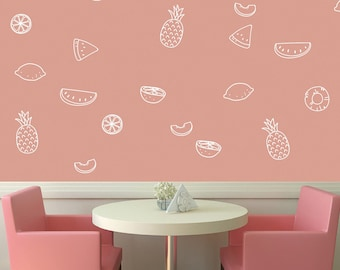 24 Line Fruit Decals. Line Art Transfer Pack. These Look Great in the Nursery, Playroom, Kitchen, Kids Bedroom - 8 Different fruits