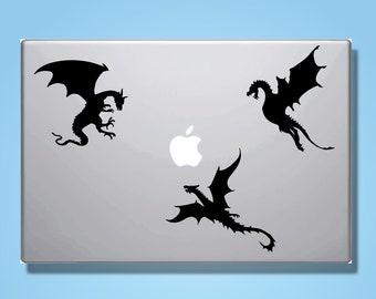 3 Dragon Vinyl Decals // Macbook Laptop Decal Stickers // Dragon Design // Car or Window Transfers // Gift Idea