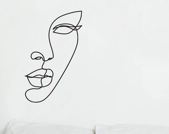 Line Art Wall Transfer // Abstract Face Decal // Artistic Wall Decor // Vinyl Wall Art // Livingroom, Kitchen, Hallway, Office, Play Room