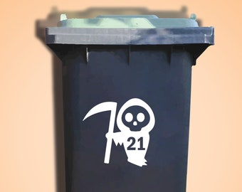 2 Skull Wheelie Bin Decals. House Number Sticker. Bin Trash Skip Rubbish Home Bin Transfers. Street Name Decals. Peel and Stick