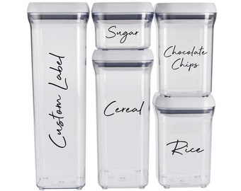 Custom Container Labels, Personalised Pantry, Spice Jar Stickers, Kitchen Jar Decals, Canister Transfers, Bathroom Labels, Water Resistant