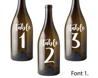 Table Number Decals. Bottle Table Numbers. Seating Plan Number. Wedding Party Signs. Easy Peel And Stick. For Glass, Bottles, Plastic, Metal