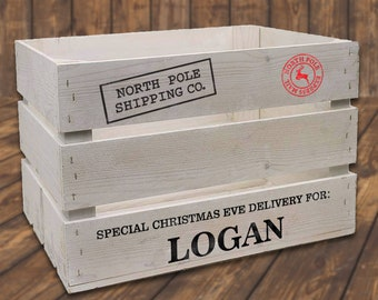 Christmas Eve Crate DECAL - Personalized Name Decal - Custom Xmas Box Decals - DIY Christmas Day Crate For Kids - North Pole - Decal ONLY