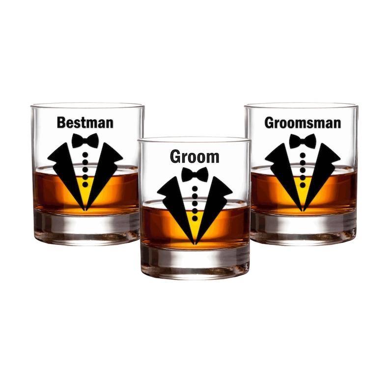 Groom Wedding Party Decals // Bow Tie Groomsman Decals // Beer image 0