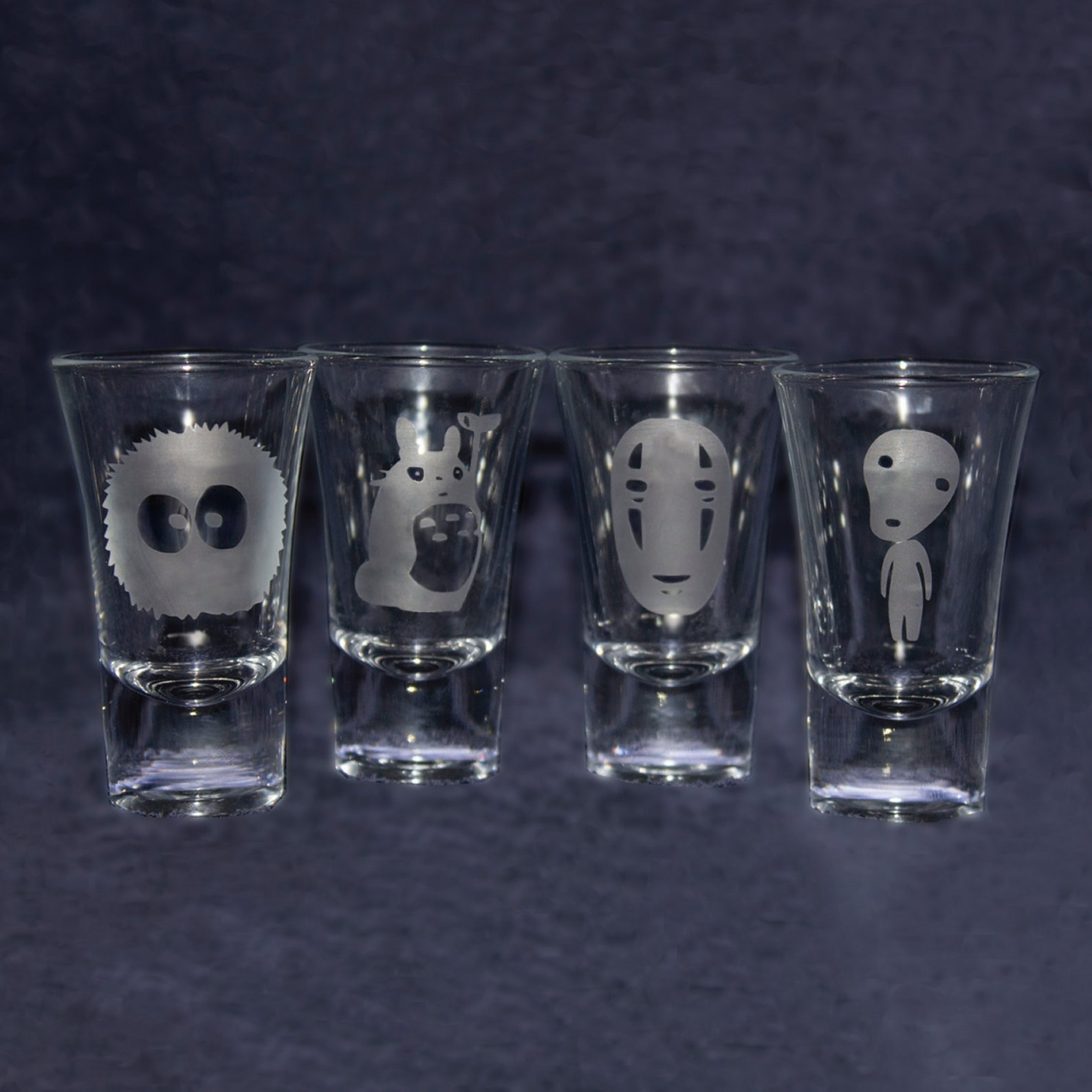 Studio Ghibli Shot Glasses. Set of 4 Etched Shot Glasses. Totoro, Soot Sprite, No face, Kodama spirit. My Neighbor Totoro, Spirited Away