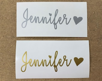 Name Decal - Custom Vinyl Name Transfer - Personalized Name Decal - Gold or Silver Sticker - Yeti Name Decal - Car Decal - Laptop Decal