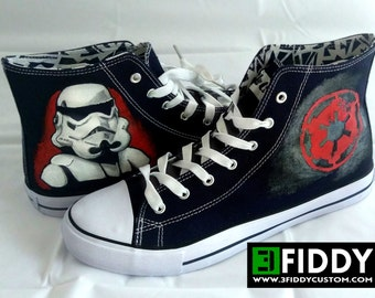 3b29eb6652ef Hand painted Star Wars STORMTROOPER Sneakers Shoes Trainers - we tailor to your  taste! Shoe Wizzards 3Fiddy.