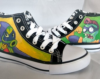 Hand painted PLANTS VS ZOMBIES Sneakers Shoes Trainers - we tailor to your taste! Shoe Wizzards 3Fiddy.
