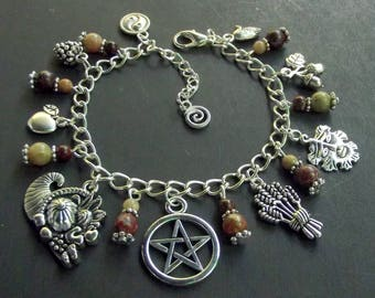 Pagan/Wiccan Sabbat Charm Bracelet - Mabon - with Autumn & Brecciated Jasper Beads. Wicca, Witch, Equinox, Pentacle, Goddess