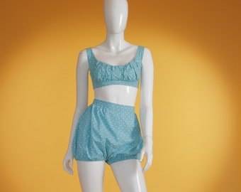 Vintage 1950's Blue and White Cotton Polka Dot High Waisted Bikini Size Extra Small