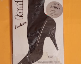 Vintage 1980s Black 18 Denier Shiny Tights/Hosiery. Size S/M