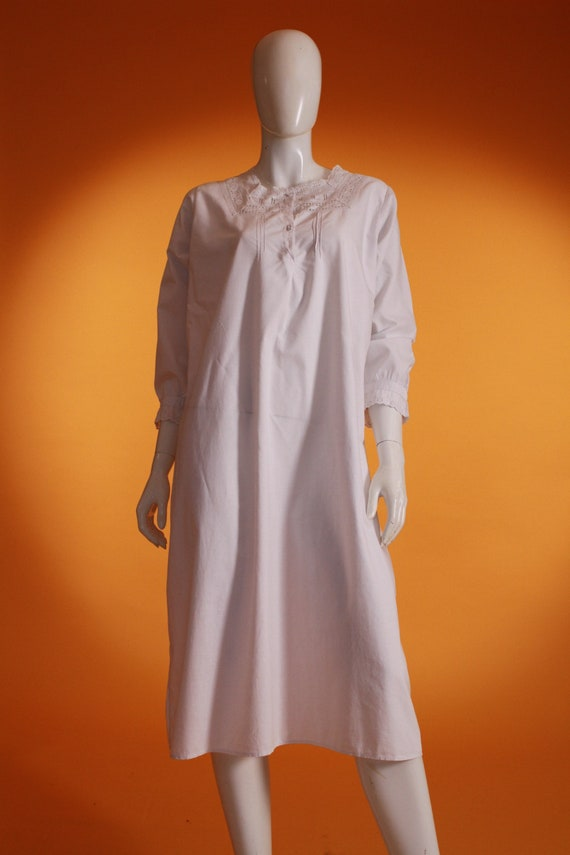 Vintage Original Victorian White Cotton Night Dres