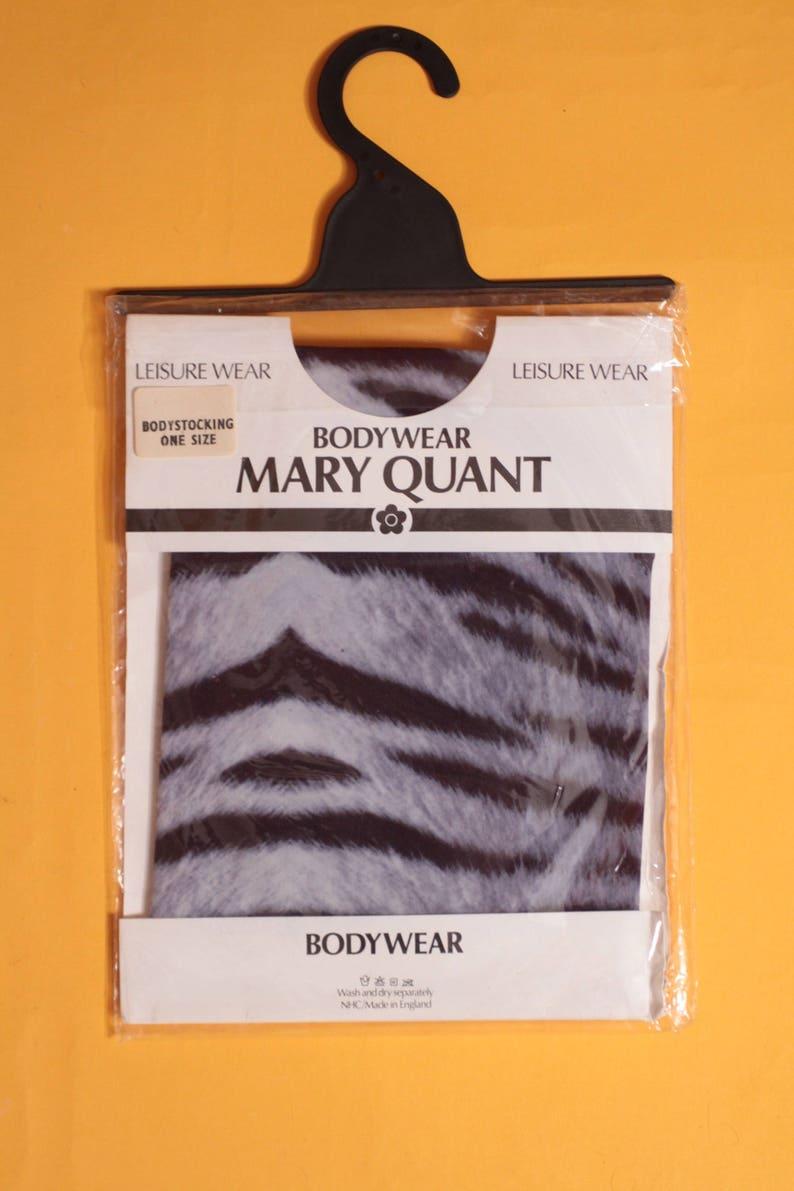 Brand NewDeadstock Vintage 1980/'s Animal Print GreyBlack Body StockingLeotard by Mary Quant Size SM
