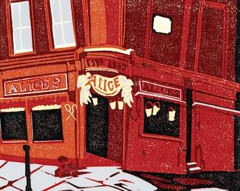 Alice's on Portobello, Linocut Print by Hazel Bryer