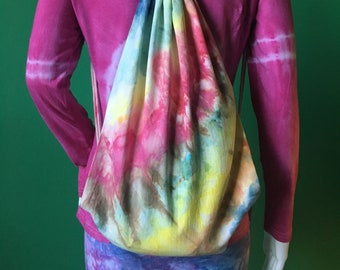 Unique handmade tie dye festival hippy style drawstring cotton bag/backpack