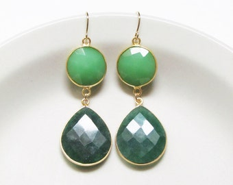 Custom Ombre Drops - Choose Your Colors + Stones - 14k Gold Filled Gemstone Jewelry - Statement Earrings + Statement Jewelry