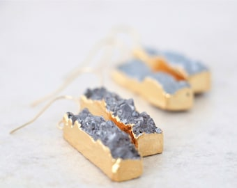 Natural Druzy Bar Earrings - 14K Gold Filled Gemstone Jewelry
