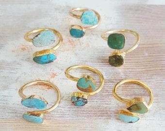 Turquoise Cuff Ring - Everyday Gemstone Jewelry