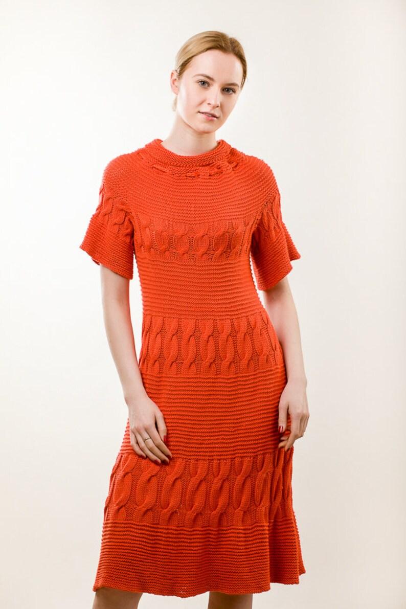 big sale 94b89 62d88 Abito estivo, vestito arancione, Sundress, cavo in maglia vestito, modello  del vestito di maglia, Vestito longuette, abito di cotone, abito in maglia,  ...