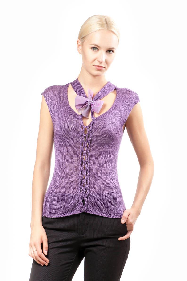 92cf829a058d4f Crop top Purple sleeveless top Bow blouse Cute silk Women